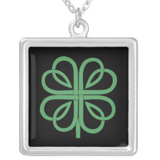 Four Leaf Clover design Square Pendant Necklace