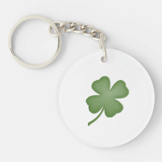 Four Leaf Clover Double-Sided Round Acrylic Key Ring