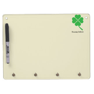 Four-leaf clover dry erase board with key ring holder