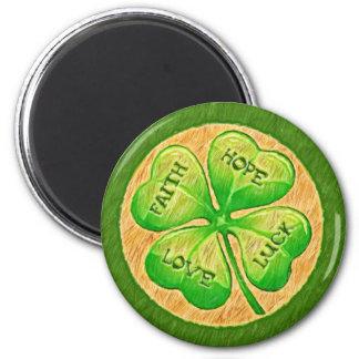 Four Leaf Clover - Faith Hope Love Luck 6 Cm Round Magnet