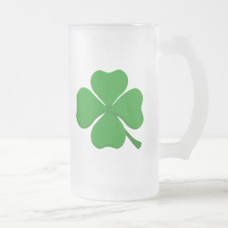 Four Leaf Clover Frosted Glass Beer Mug