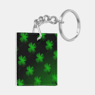 Four Leaf Clover Gradient Double-Sided Square Acrylic Key Ring