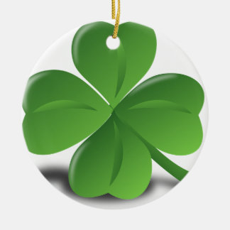 FOUR LEAF CLOVER HAT CERAMIC ORNAMENT