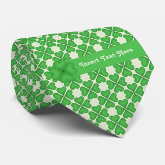 Four leaf Clover Hearts pattern Customizable Tie