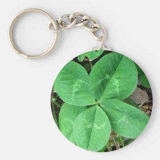 Four Leaf Clover Basic Round Button Key Ring