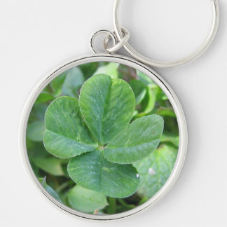 Four leaf clover Silver-Colored round key ring