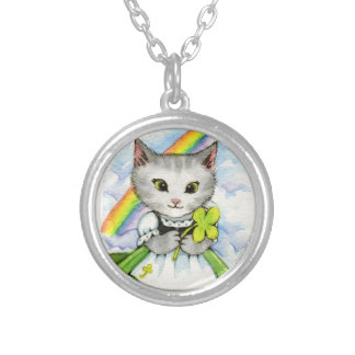 Four Leaf Clover Kitten - Cute Cat Art Round Pendant Necklace