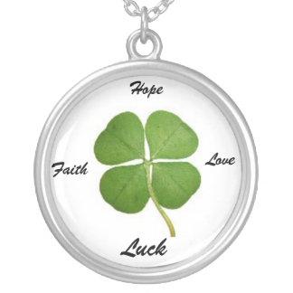 Four Leaf Clover Legend Round Pendant Necklace