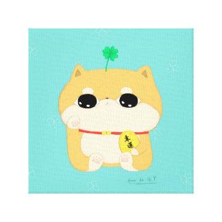 four leaf clover-lucky dog canvas print