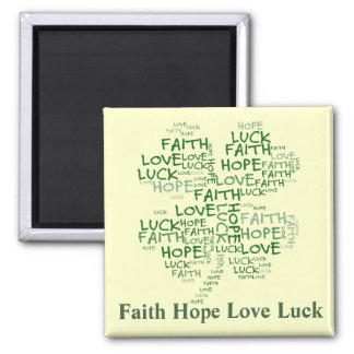 Four Leaf Clover Meaning: Hope, Faith, Love, Luck Square Magnet