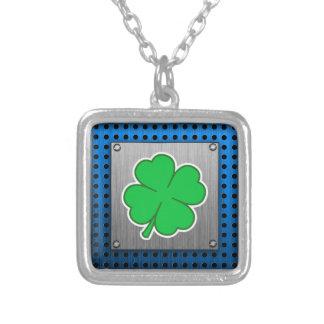 Four Leaf Clover; metal-look Silver Plated Necklace
