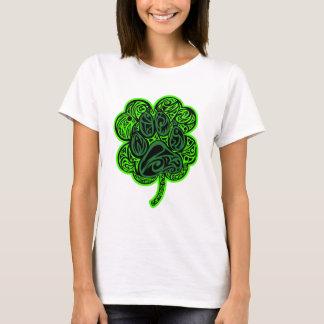 Four Leaf Clover Paw Print T-Shirt