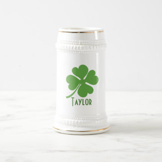 Four Leaf Clover Personalize Beer Stein