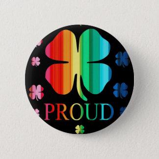 Four leaf clover Rainbow RoyGeeBiv - LGBT 6 Cm Round Badge