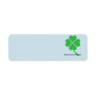Four-leaf clover return address label
