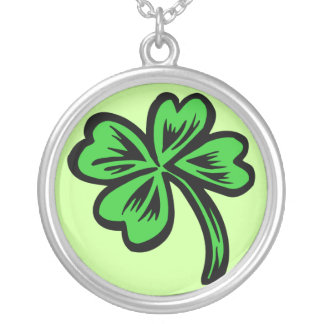 Four-Leaf Clover Round Pendant Necklace