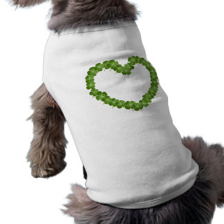Four Leaf Clover Shamrock Heart Sleeveless Dog Shirt