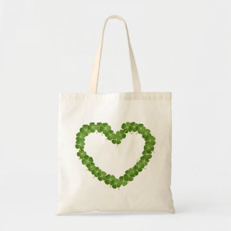 Four Leaf Clover Shamrock Heart Canvas Bag