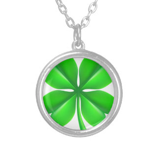 Four Leaf Clover Shamrock Silver Plated Necklace