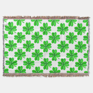 Four Leaf Clover Shamrock Throw Blanket
