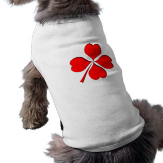 four-leaf clover sheet heart sleeveless dog shirt