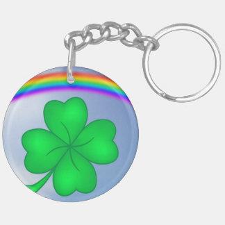 Four-leaf clover sheet with rainbow key ring