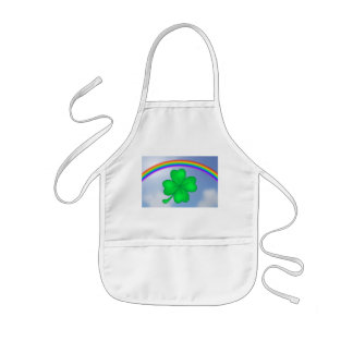 Four-leaf clover sheet with rainbow kids apron