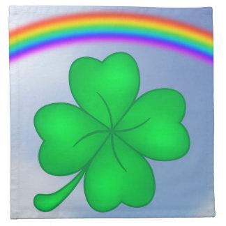 Four-leaf clover sheet with rainbow napkin