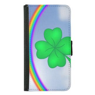 Four-leaf clover sheet with rainbow samsung galaxy s5 wallet case
