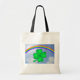 Four-leaf clover sheet with rainbow tote bag