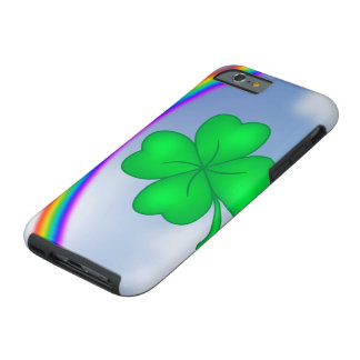 Four-leaf clover sheet with rainbow tough iPhone 6 case