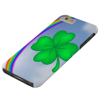 Four-leaf clover sheet with rainbow tough iPhone 6 plus case