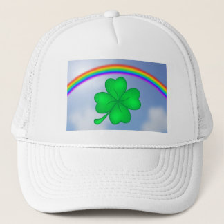 Four-leaf clover sheet with rainbow trucker hat