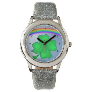 Four-leaf clover sheet with rainbow watch