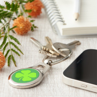 Four leaf clover Silver-Colored oval key ring