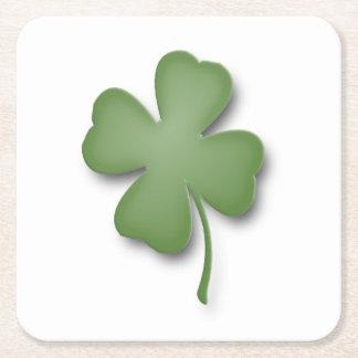 Four Leaf Clover Square Paper Coaster