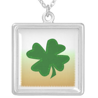 Four Leaf Clover Square Pendant Necklace