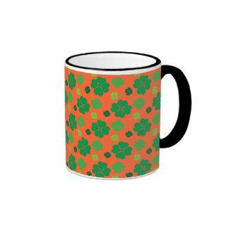 Four Leaf Clover St Paddys Day Green Ringer Mug
