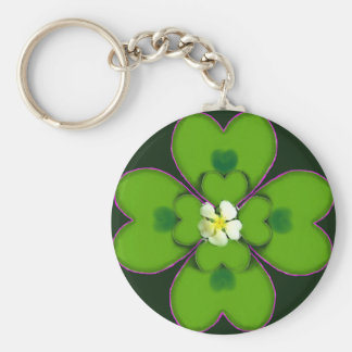 Four Leaf Clover St. Patrick Irish Flower Patty Key Ring