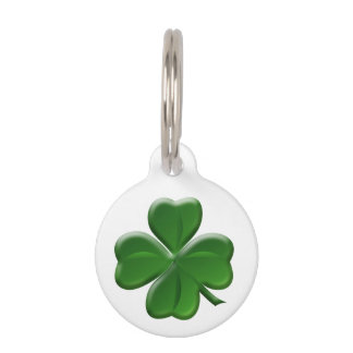 Four Leaf Clover - St Patrick's Day Symbol Pet Name Tag