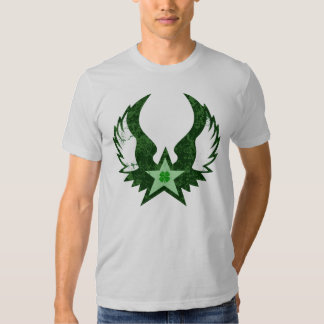 four leaf clover. winged star. shirts