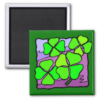 Four Leaf Clovers Square Magnet