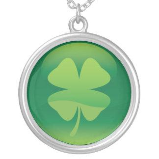 Four leaf shamrock round pendant necklace