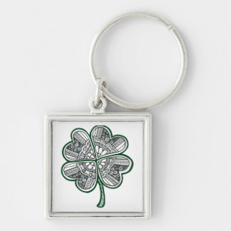 Four Leave Clover 1 Silver-Colored Square Key Ring