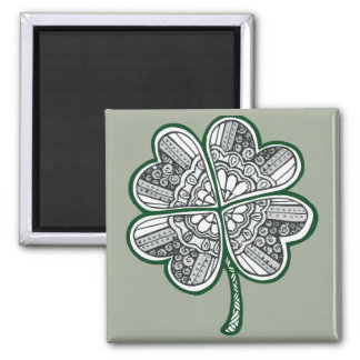 Four Leave Clover 1 Square Magnet