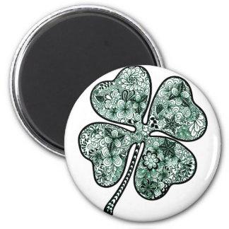Four Leave Clover 2 6 Cm Round Magnet