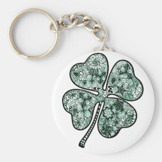Four Leave Clover 2 Basic Round Button Key Ring