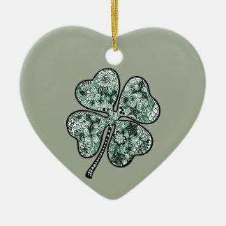 Four Leave Clover 2 Ceramic Heart Decoration