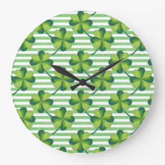 Four Leaves Clover St. Patrick's Day Pattern Large Clock