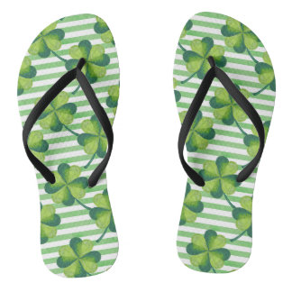 Four Leaves Clover St. Patrick's Day Pattern Thongs
